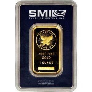 1 g Sunshine Mint Gold Wafer Bar Front