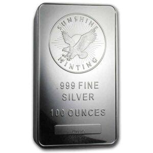 100 oz Sunshine Mint Silver Bar Front
