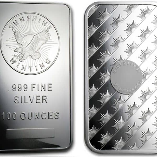 100 oz Sunshine Mint Silver Bar Front and Back