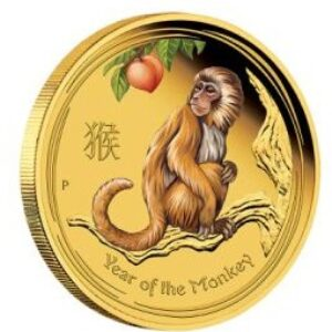 2016 Perth Mint Year of the Monkey 1_4 oz Colourized Gold Proof Coin Front