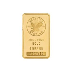 5 g Sunshine Mint Gold Wafer Bar Front