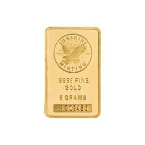 5 g Sunshine Mint Gold Wafer Bar Front