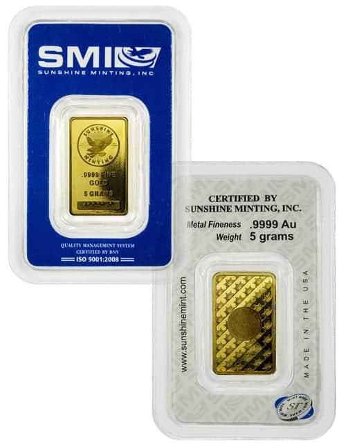 5 G Sunshine Mint Gold Wafer Bar