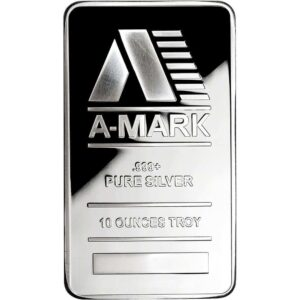 A-Mark 10 oz Silver Bar Front