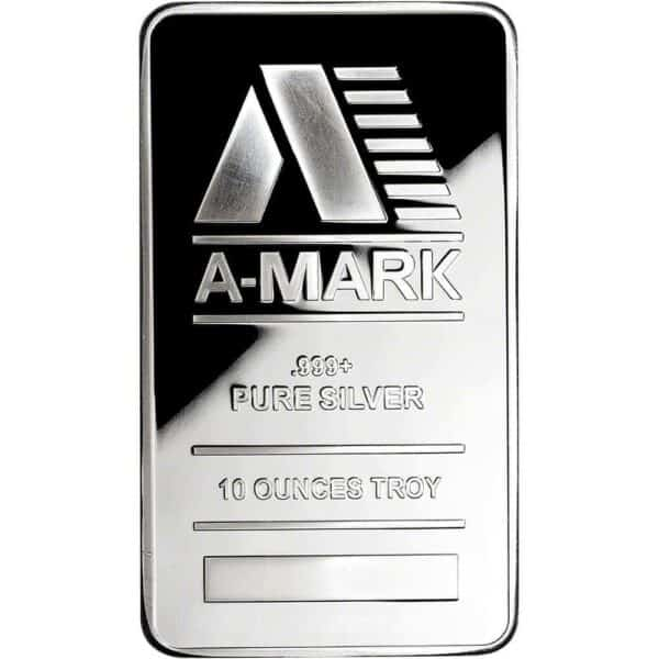 A-Mark 10 oz Silver Bar Front