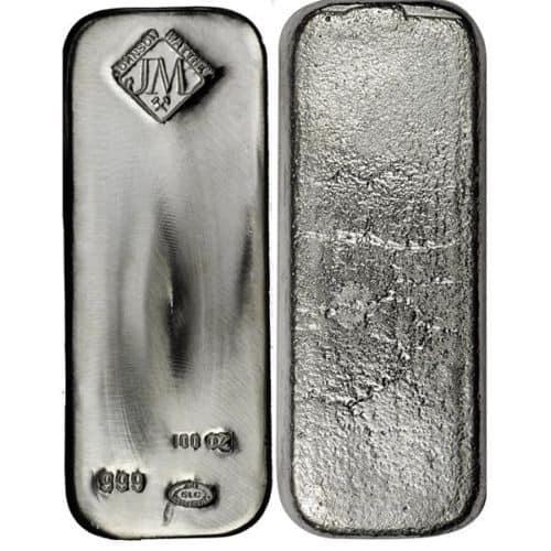 JM 100 oz Silver Bar