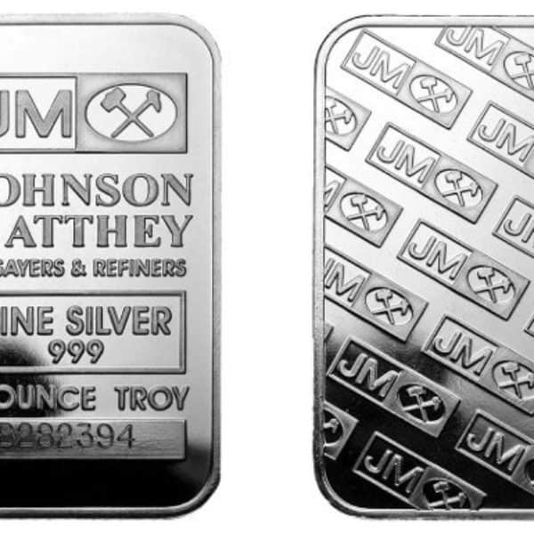 Johnson Matthey 1 oz Silver Wafer Bar Front and Back