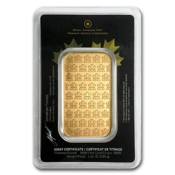 RCM 1 oz Gold Bar packaged back