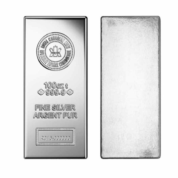 RCM 100 oz Silver Bar front and back
