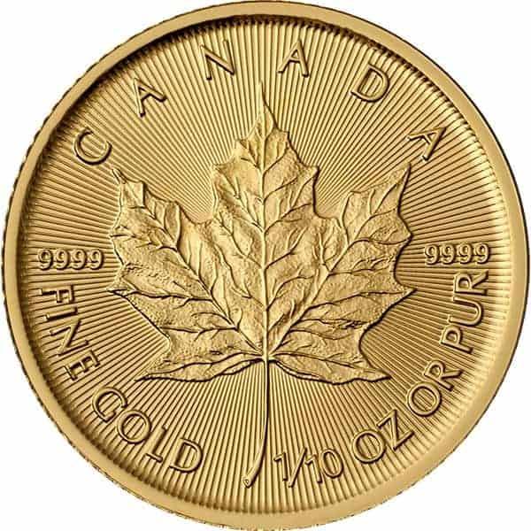 Royal Canadian Mint 1/10 oz gold Maple Leaf Coin Back