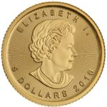 Royal Canadian Mint 1/10 oz gold Maple Leaf Coin Front