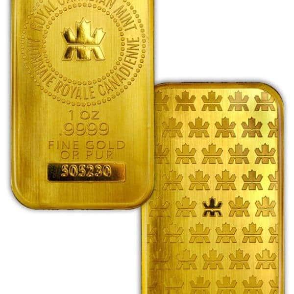 Royal Canadian Mint 1 oz Gold Bars Front & Back