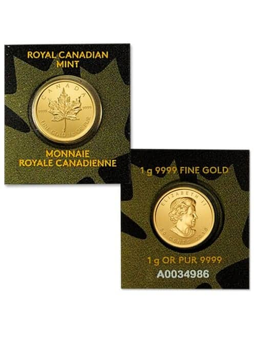 Rcm Maple Grams Package Of 25 X 1 G Gold Maple Leaf Coins