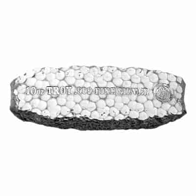 Scottsdale Mint 10 oz Tombstone Nugget Silver Bar Front