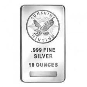 Sunshine Mint 10 oz Silver Bars Front