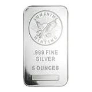 Sunshine Mint 5 oz Silver Bars Front