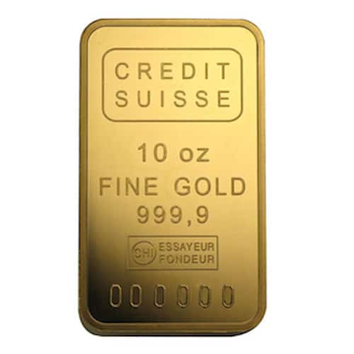 Suisse 10 oz gold bar front