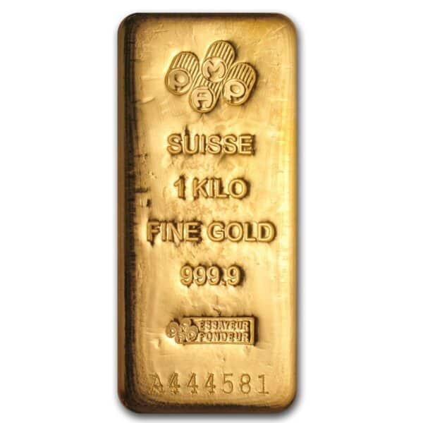Suisse 1 kilo gold bar front