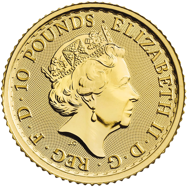 2021 English Brittania 1/10 oz Gold Coin Back