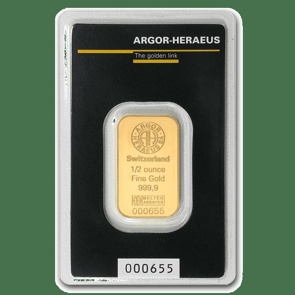 1/2 oz gold bar front